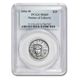 2006-W 1/4 oz Burnished Platinum American Eagle MS-69 PCGS