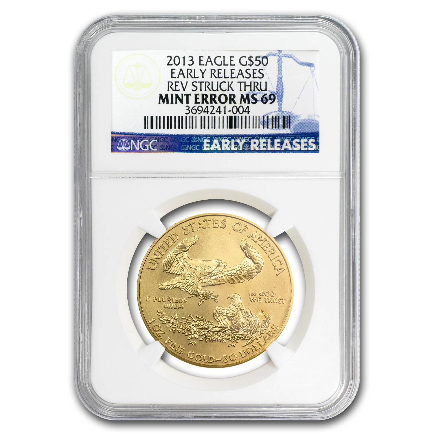 2013 1 oz Gold American Eagle Mint Error MS-69 NGC (ER)