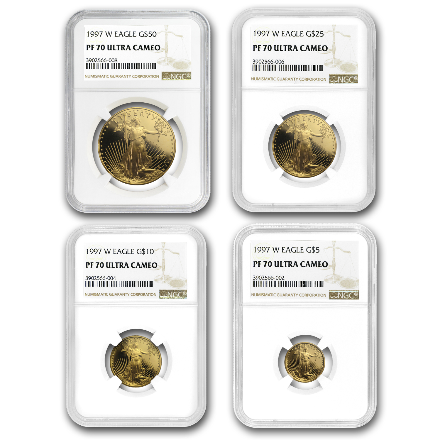 1997-W 4-Coin Proof Gold American Eagle Set PF-70 NGC