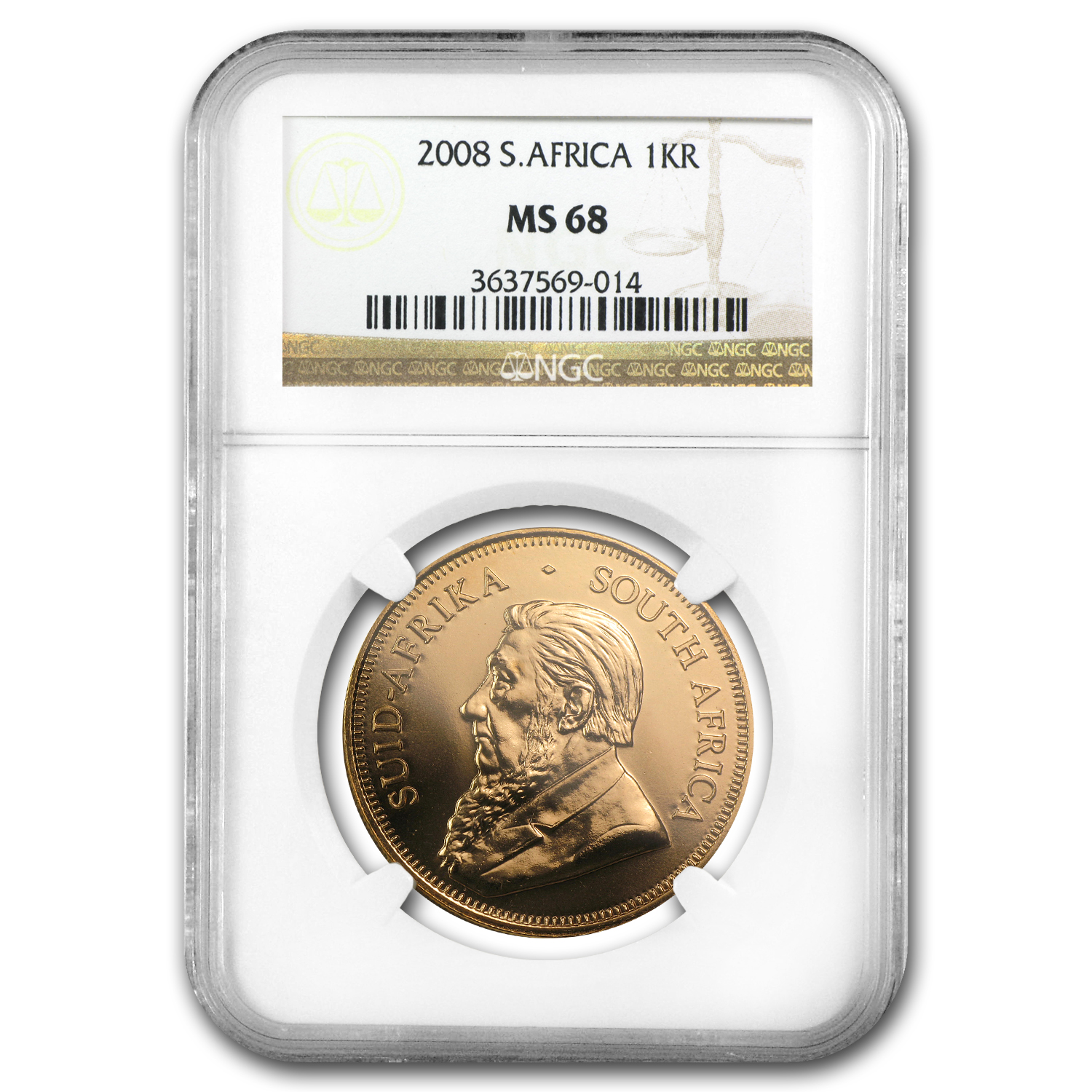 2008 South Africa 1 oz Gold Krugerrand MS-68 NGC
