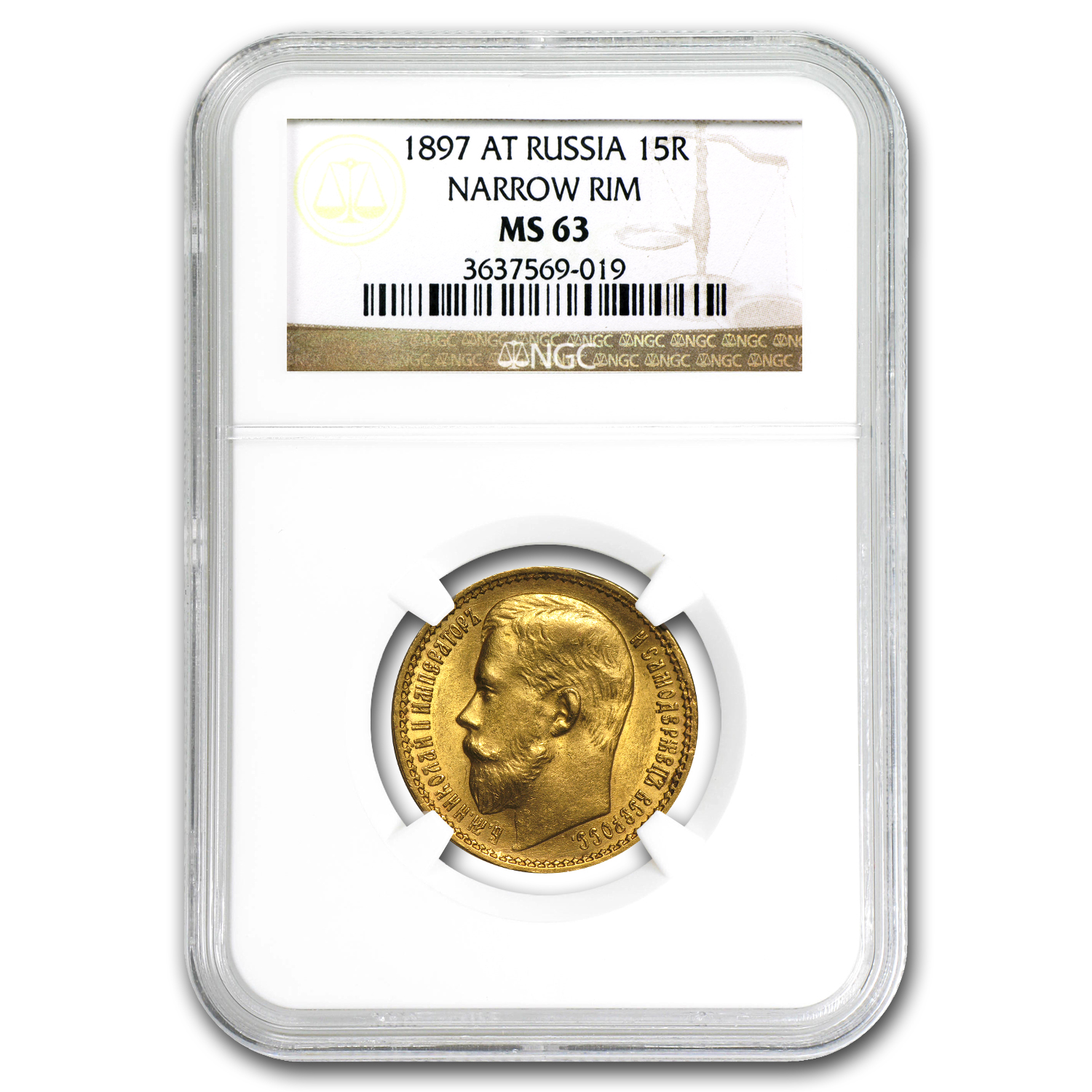 1897 Russia Gold 15 Roubles MS-63 NGC