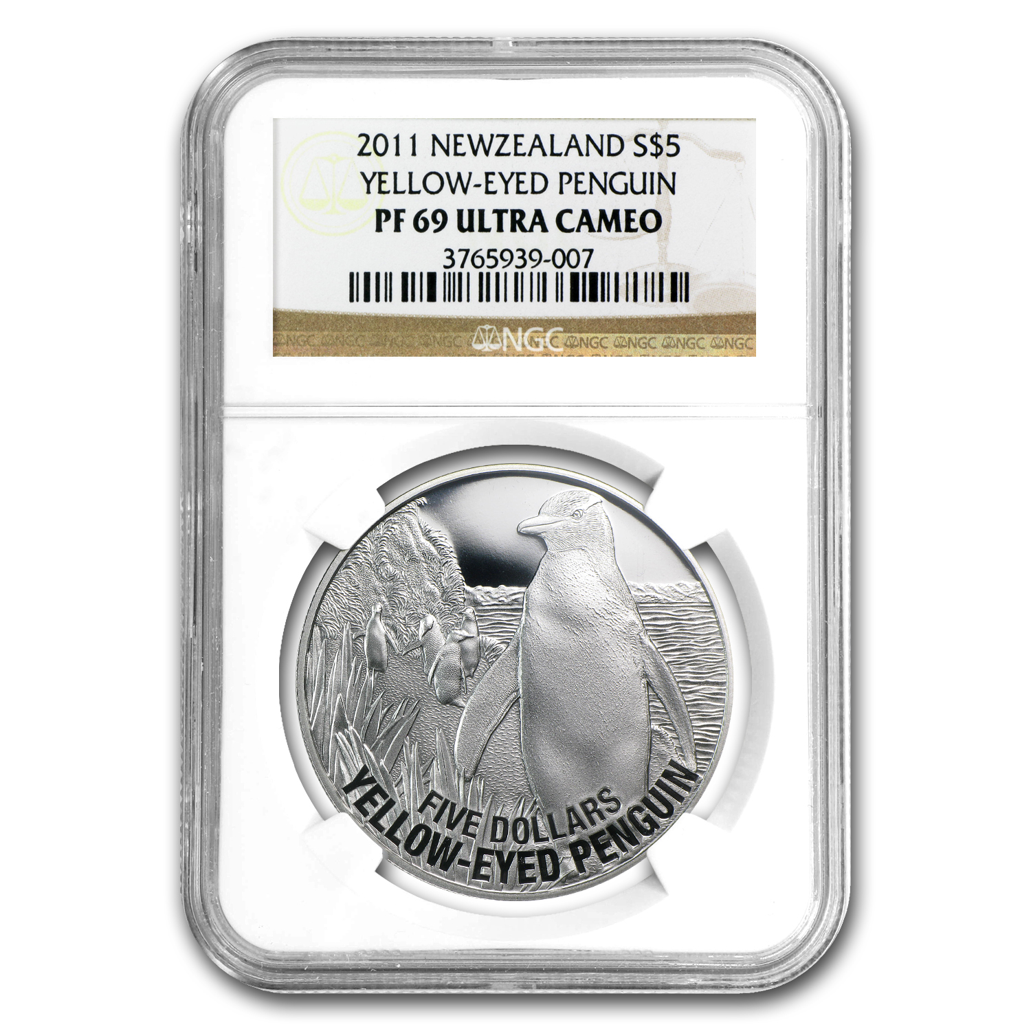 2011 1oz Silver New Zealand $5 Yellow Eyed Penguin NGC PF-69 UCAM