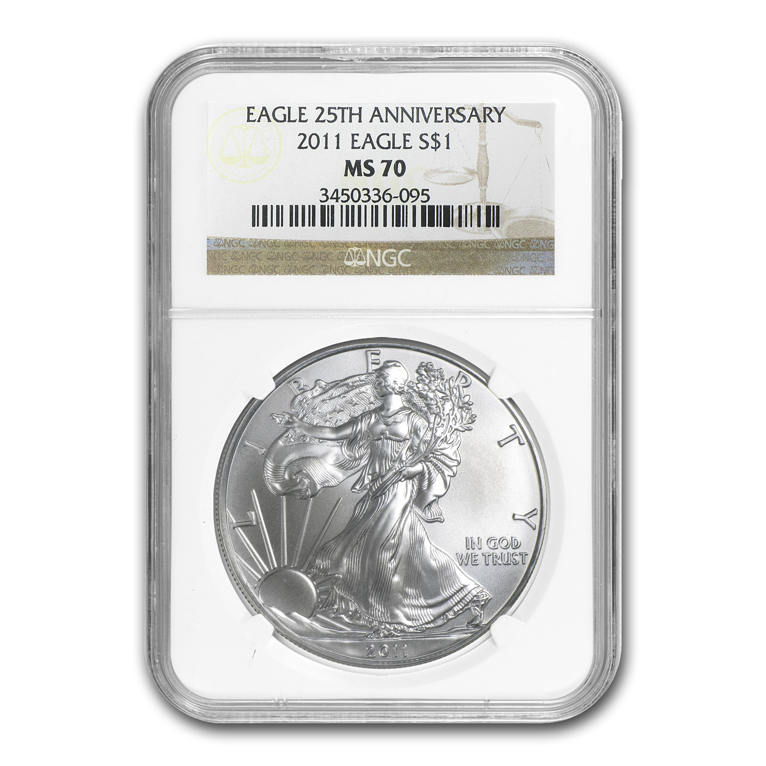 2011 Silver American Eagle MS-70 NGC (25th Anniv)