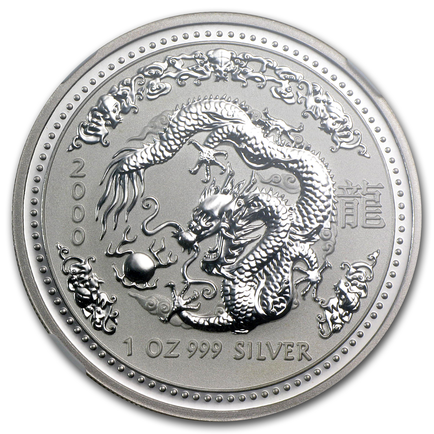 2000 1 oz Silver Lunar Year of the Dragon (Series I) NGC MS-68