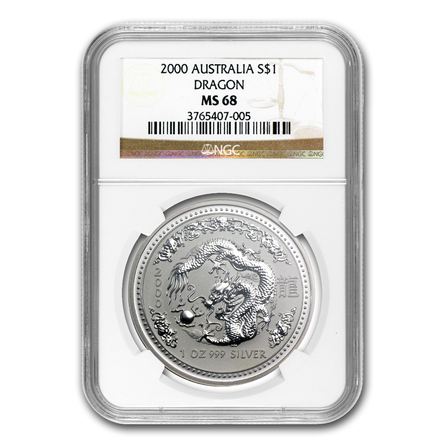 2000 Australia 1 oz Silver Year of the Dragon MS-68 NGC