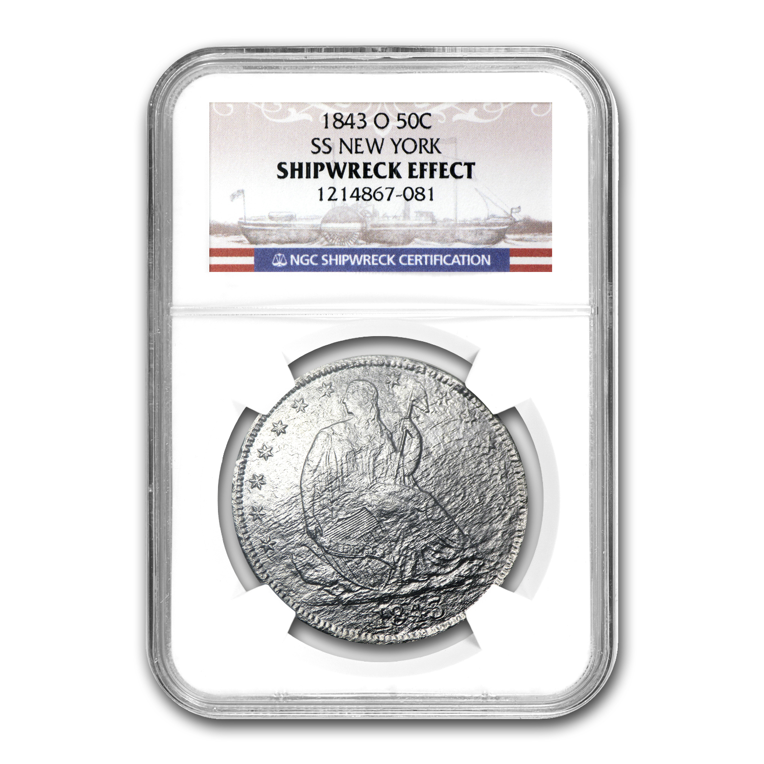1843-O Seated Half Dollar - SS New York - NGC - Shipwreck Effect