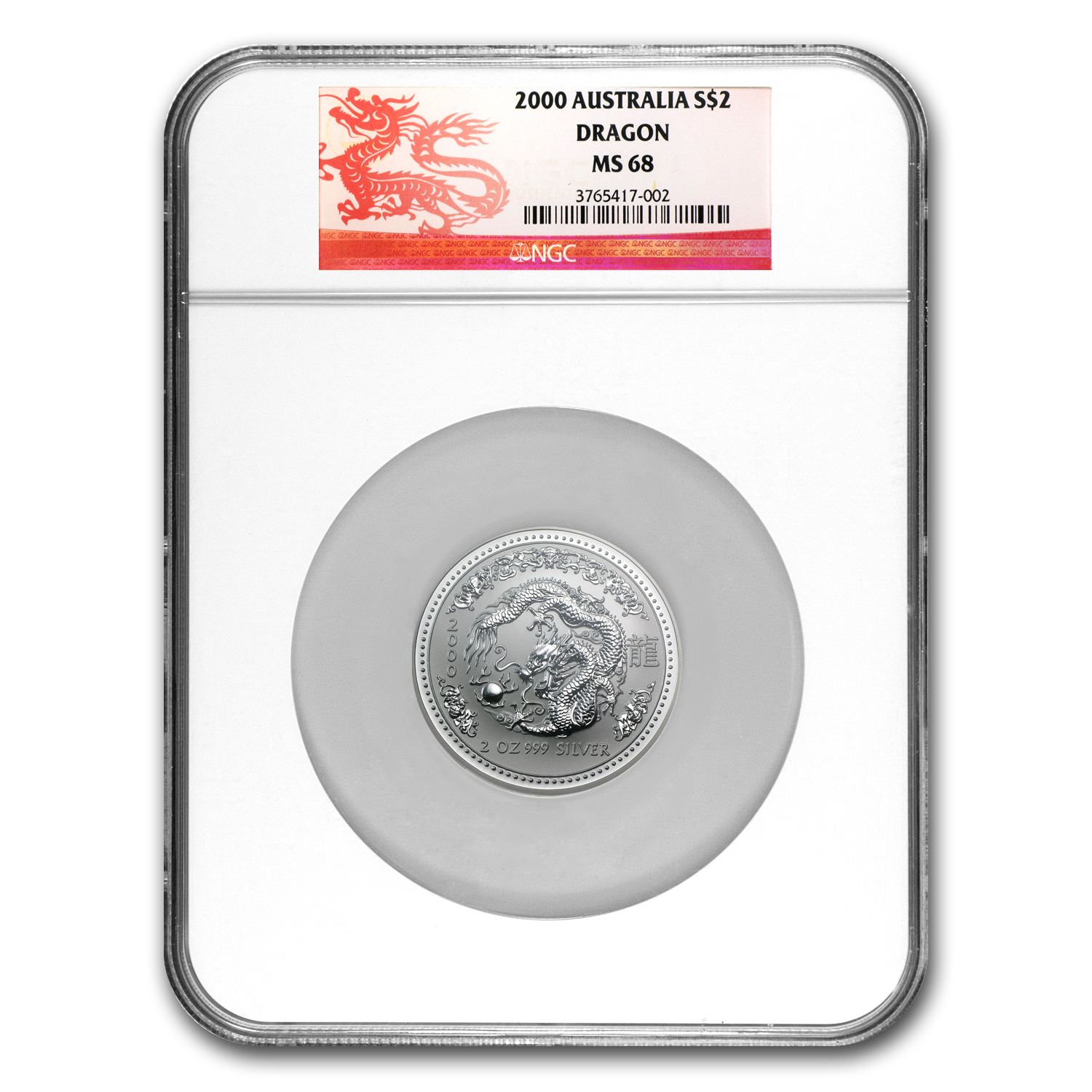 2000 Australia 2 oz Silver Year of the Dragon MS-68 NGC