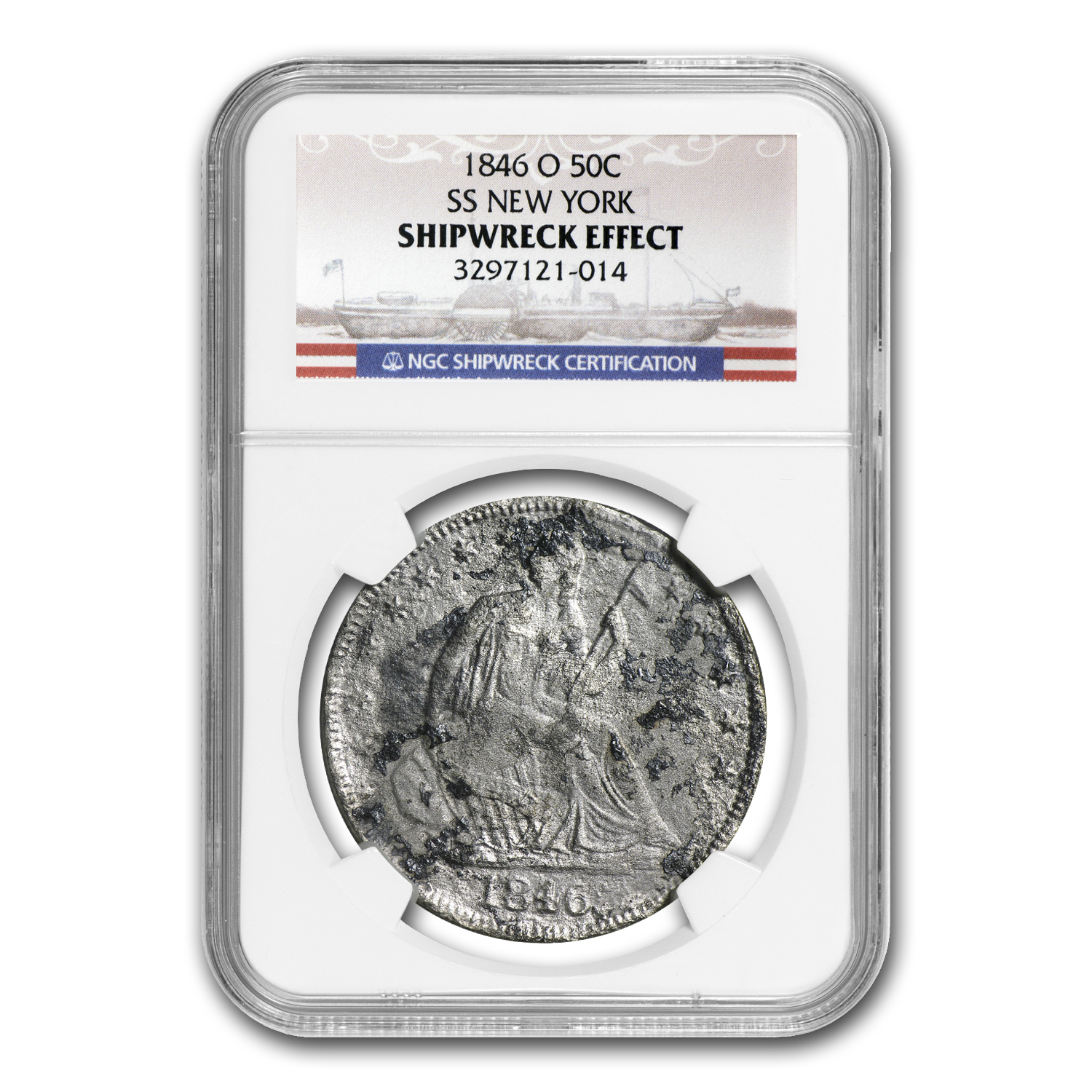 1846-O Seated Half Dollar - SS New York - NGC - Shipwreck Effect