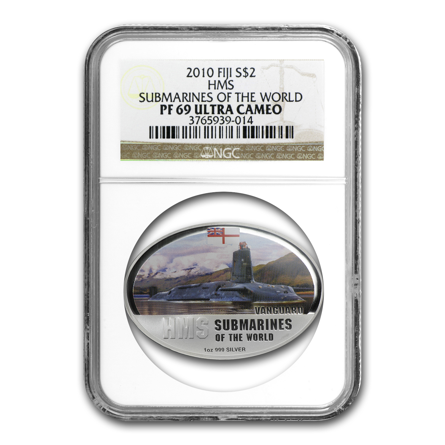 2010 Fiji 1 oz Silver $2 British Vanguard PF-69 NGC