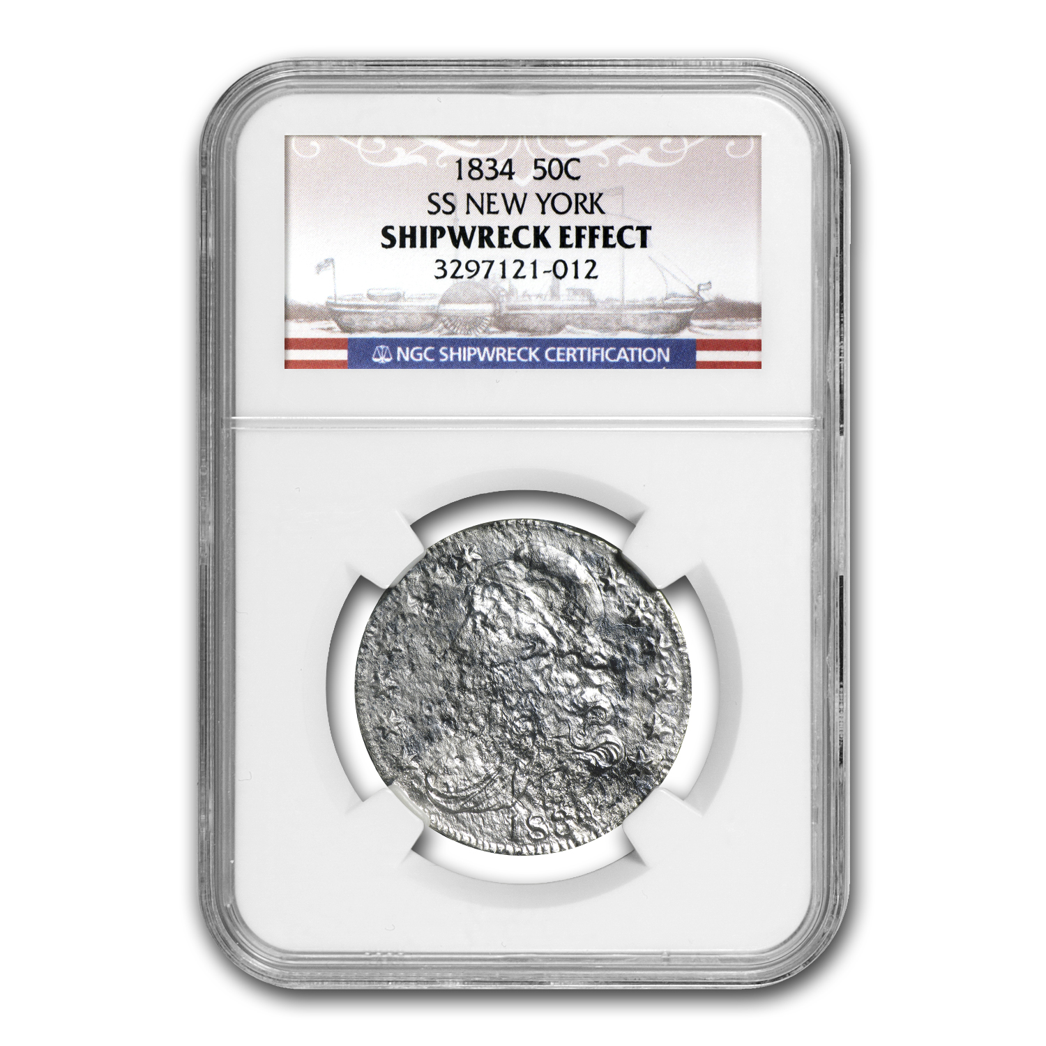 1834 Bust Half Dollar - SS New York - NGC - Shipwreck Effect