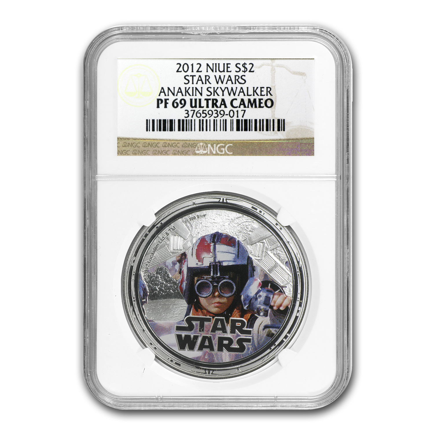 2012 1 oz Silver $2 Niue Star Wars Anakin Skywalker PF-69 NGC
