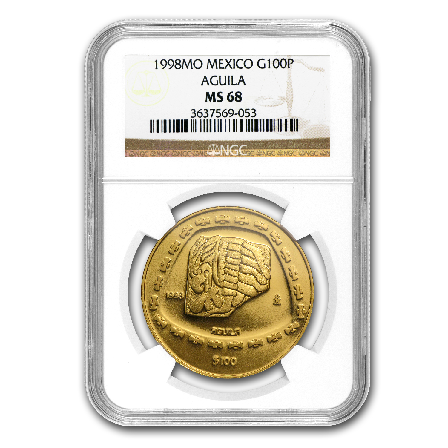 1998 Mexico 100 Pesos Gold Aguila NGC MS-68