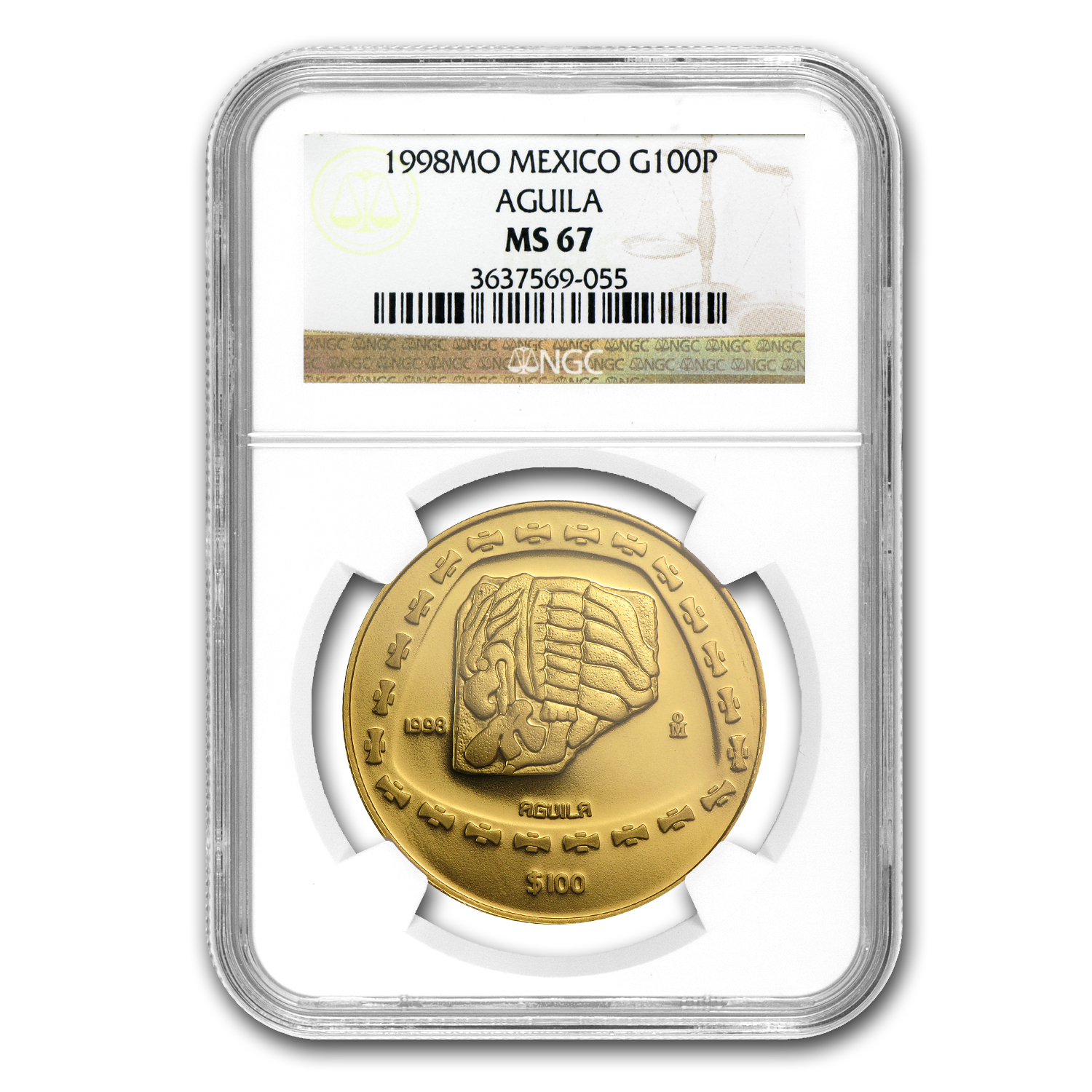 1998 Mexico 100 Pesos Gold Aguila NGC MS-67