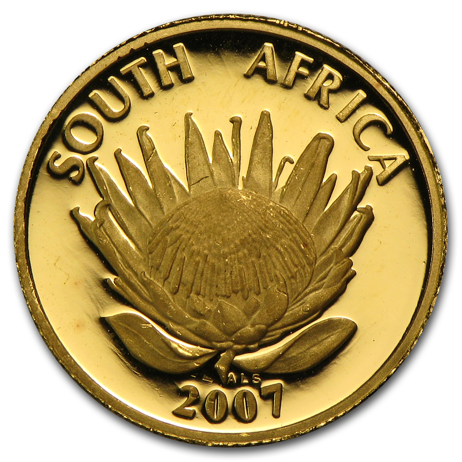 2007 South Africa 1/10 oz Proof Gold Protea Nobel Prize