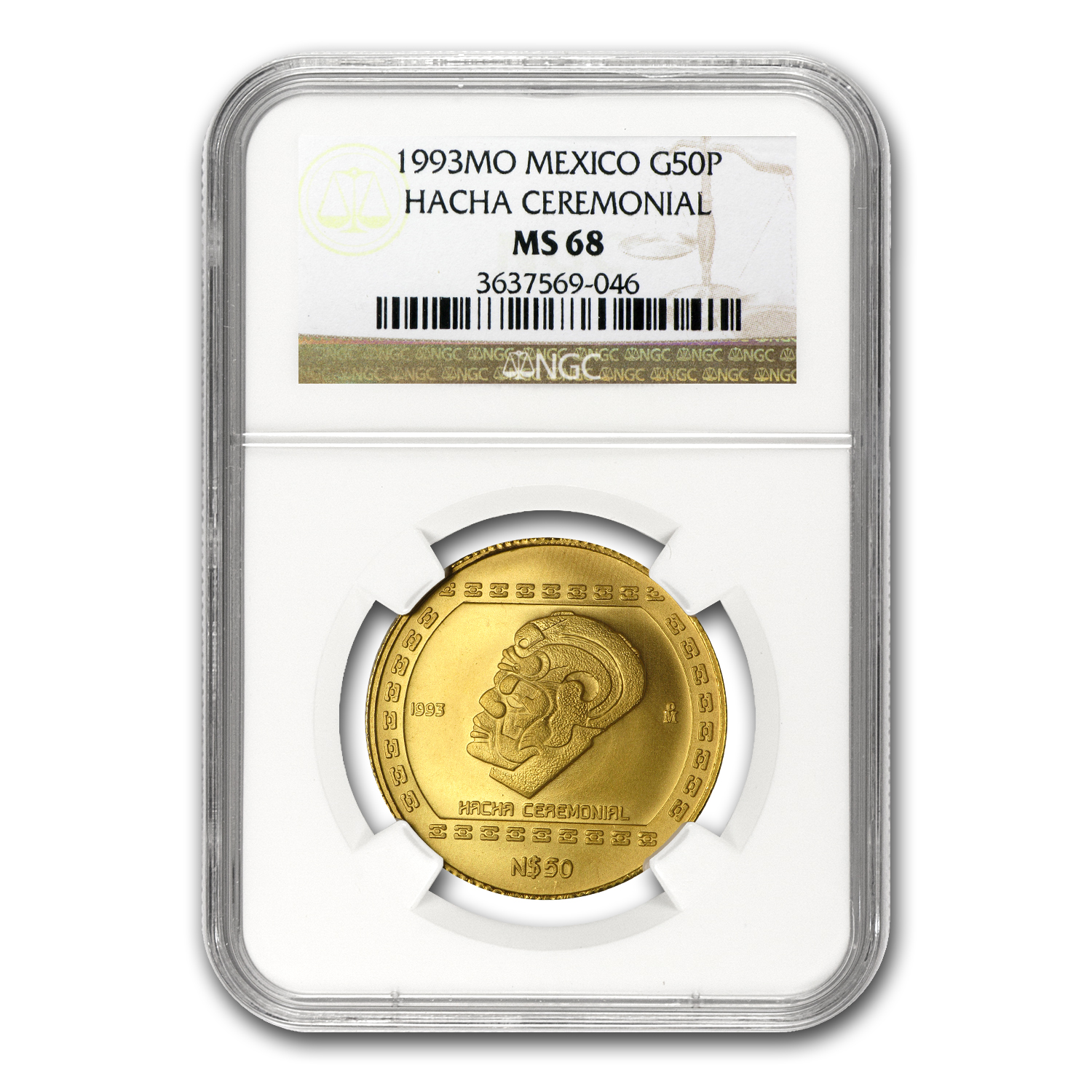 1993 Mexico 50 Pesos Gold Hacha Ceremonial NGC MS-68
