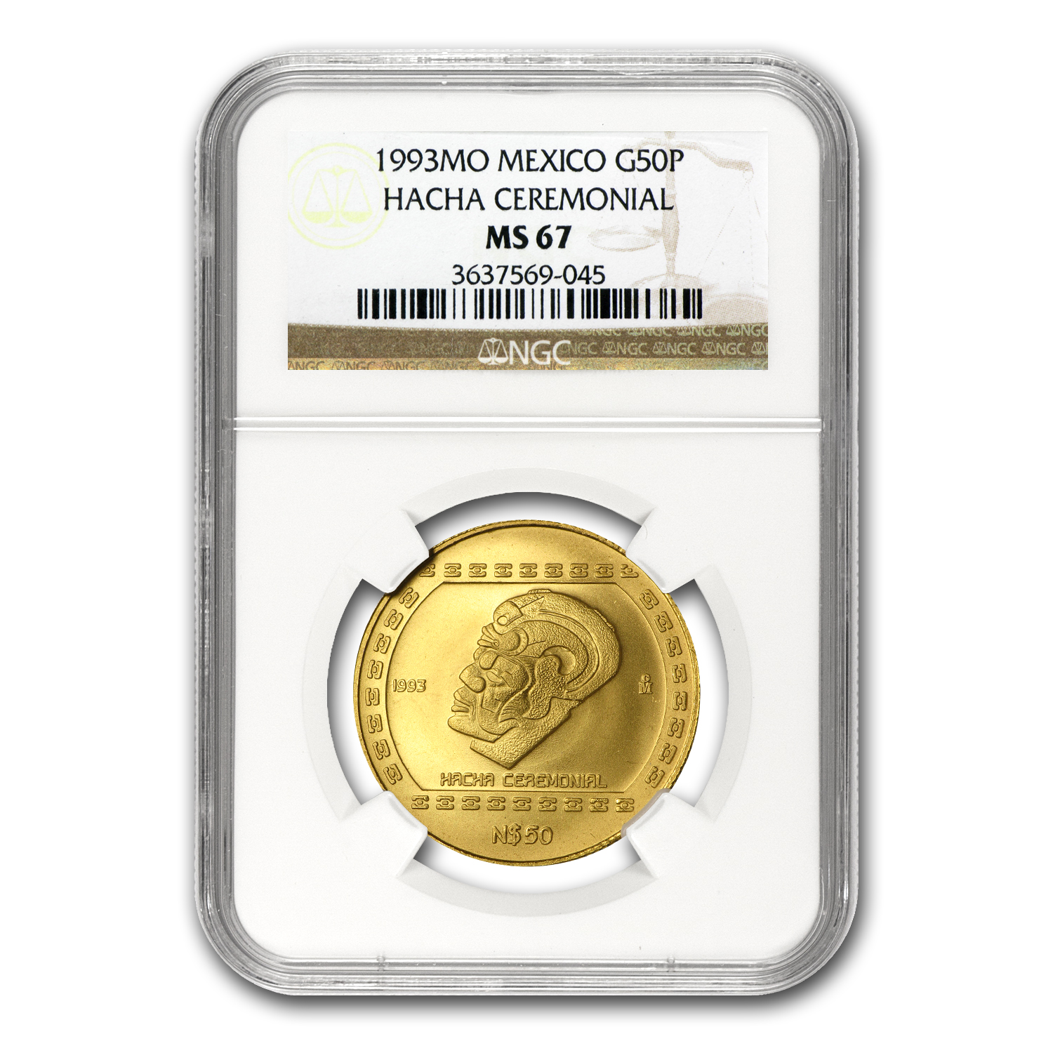 1993 Mexico 50 Pesos Gold Hacha Ceremonial NGC MS-67