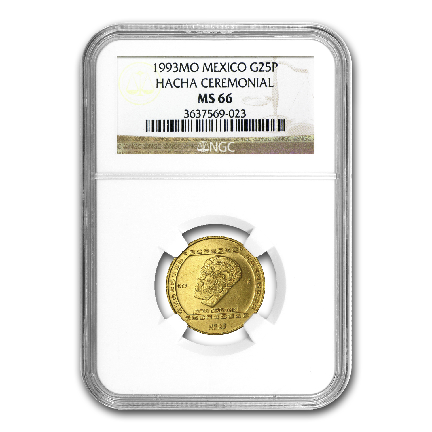1993 Mexico 25 Pesos Gold Hacha Ceremonial NGC MS-66