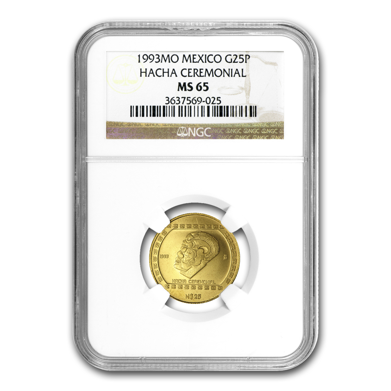 1993 Mexico 25 Pesos Gold Hacha Ceremonial NGC MS-65