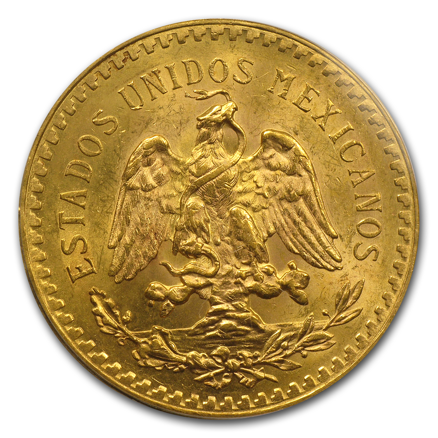 Mexico 1921 50 Pesos Gold Coin - MS-63 PCGS