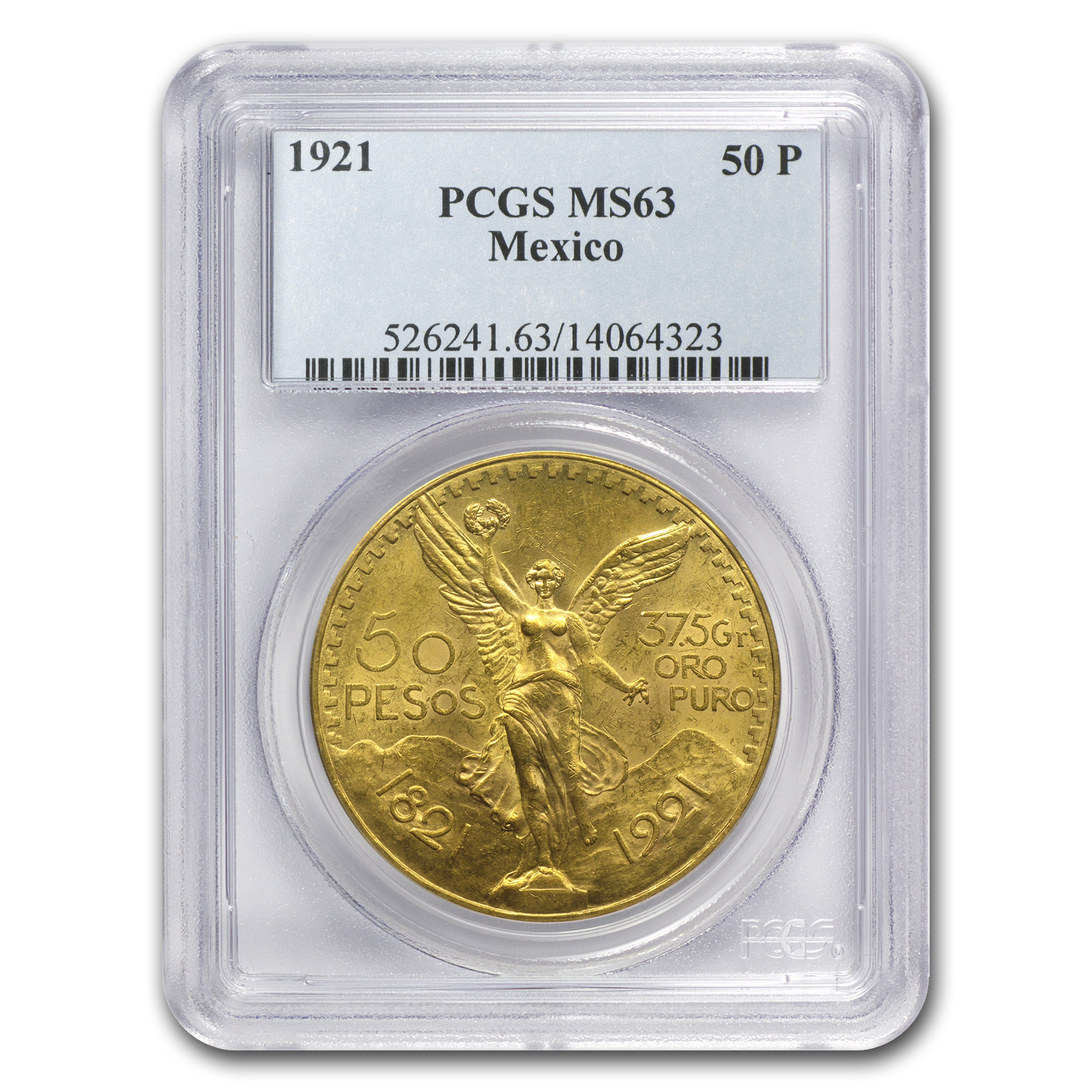 1921 Mexico Gold 50 Pesos MS-63 PCGS
