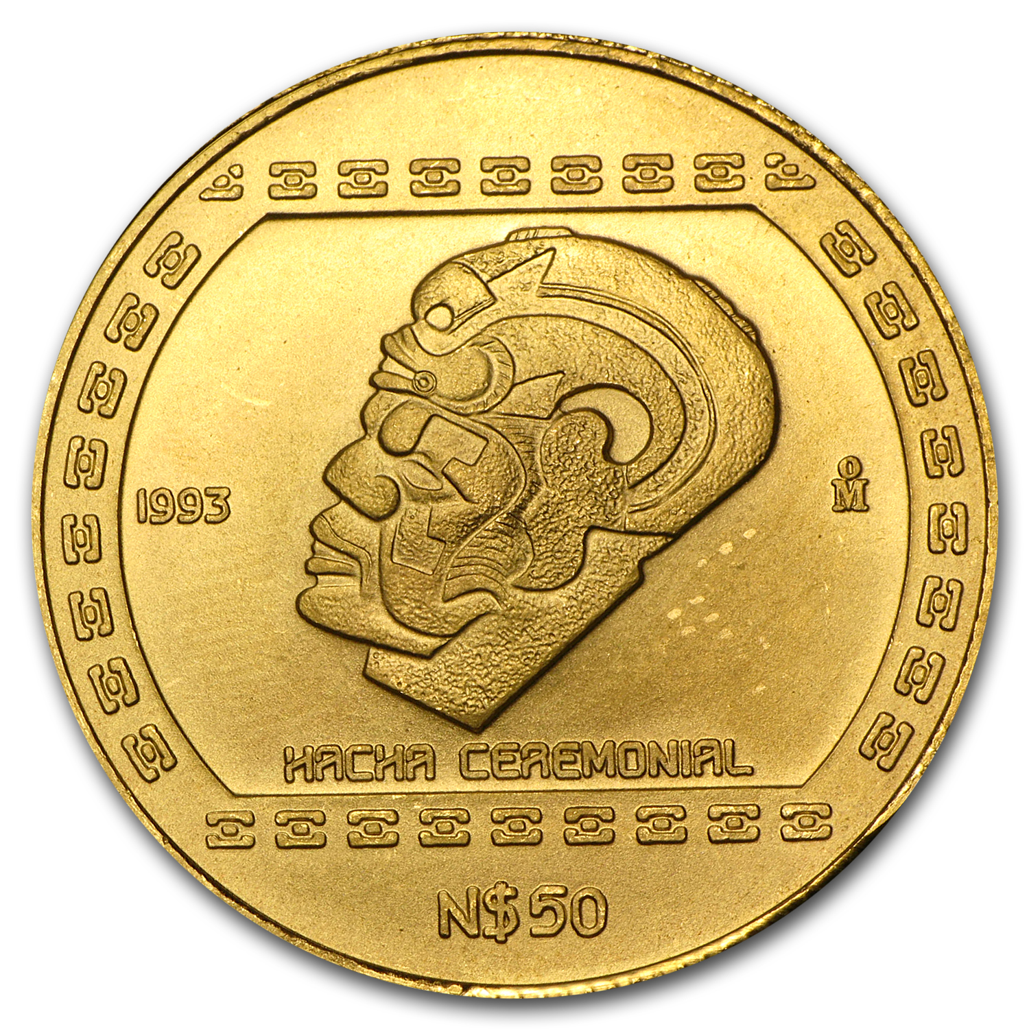 1993 Mexico 50 Pesos Gold Hacha Ceremonial BU