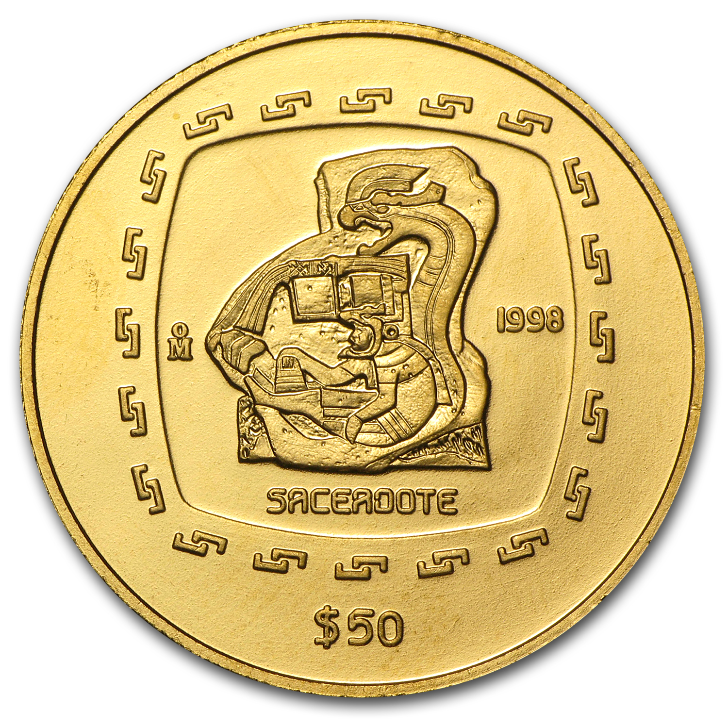 1998 Mexico 50 Pesos Gold Sacerdote Brilliant Uncirculated