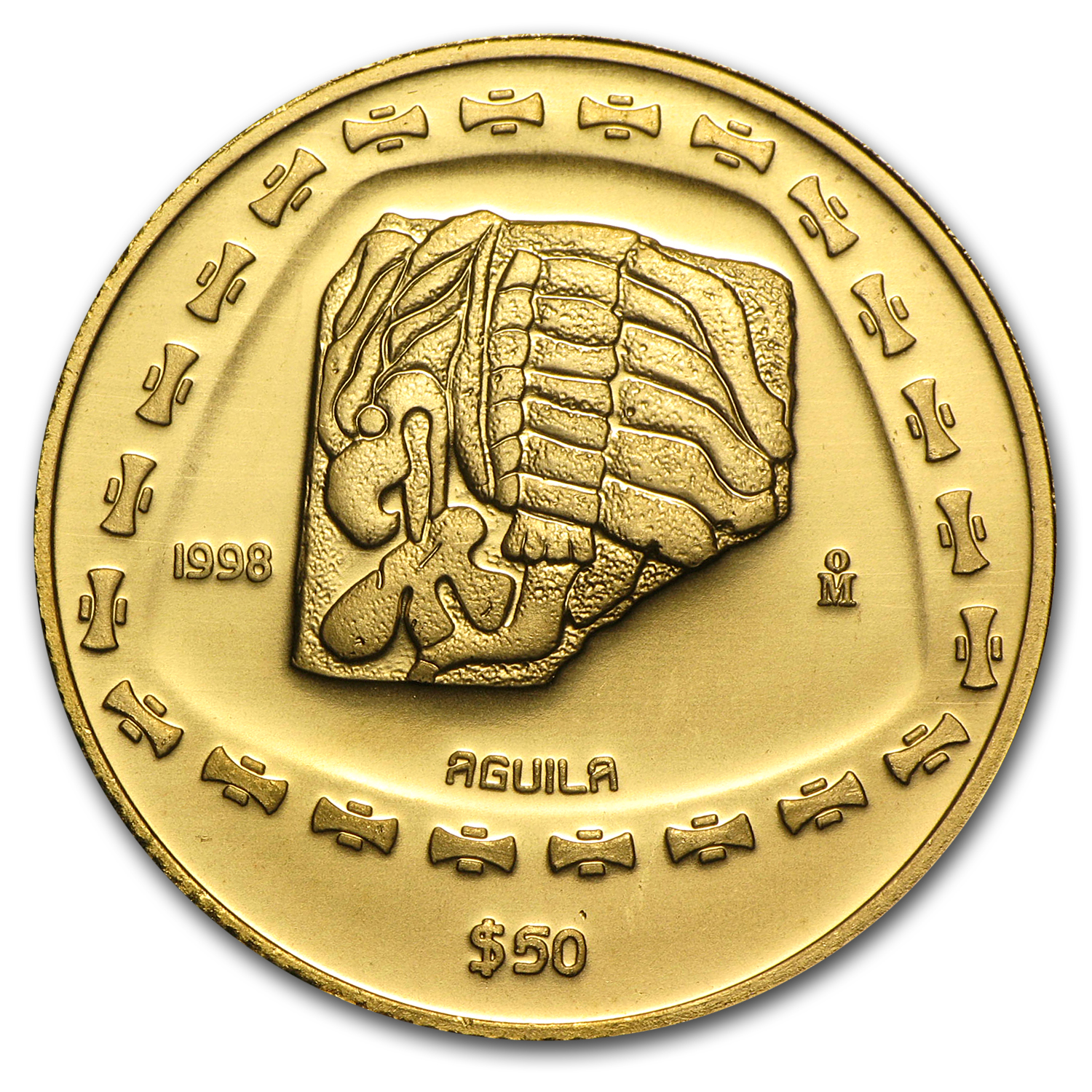 1998 Mexico 50 Pesos Gold Aguila Brilliant Uncirculated
