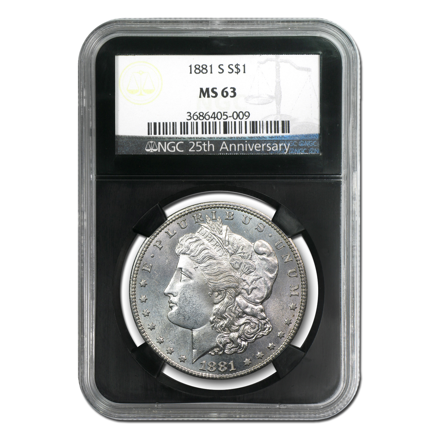 Morgan Dollar 5-Coin Mintmark Set MS-63 NGC (Black Holders)
