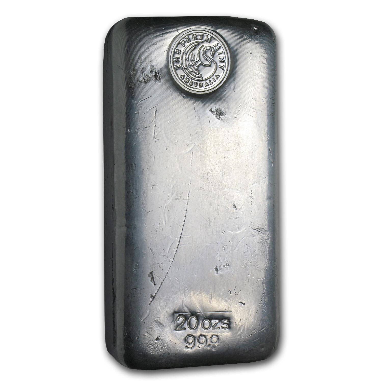 20 Oz Silver Bar Perth Mint Poured 20 Oz Silver