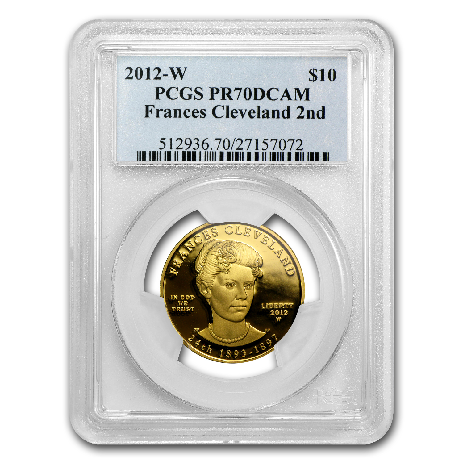 2012-W 1/2 oz Proof Gold Frances Cleveland 2nd Term PR-70 PCGS