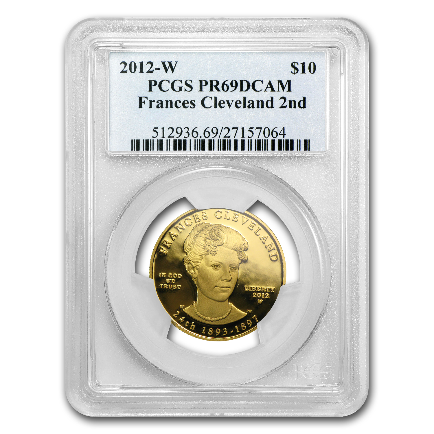 2012-W 1/2 oz Proof Gold Frances Cleveland 2nd Term PR-69 PCGS