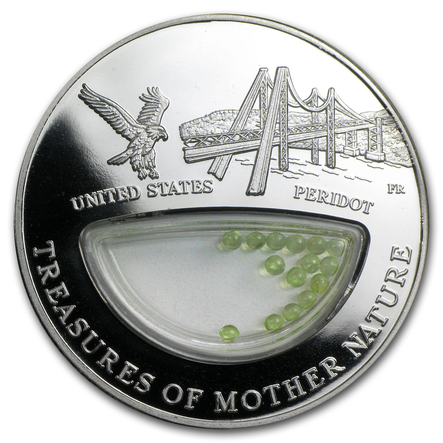 2012 Fiji Silver $1 Treasures of Mother Nature Peridot U.S.