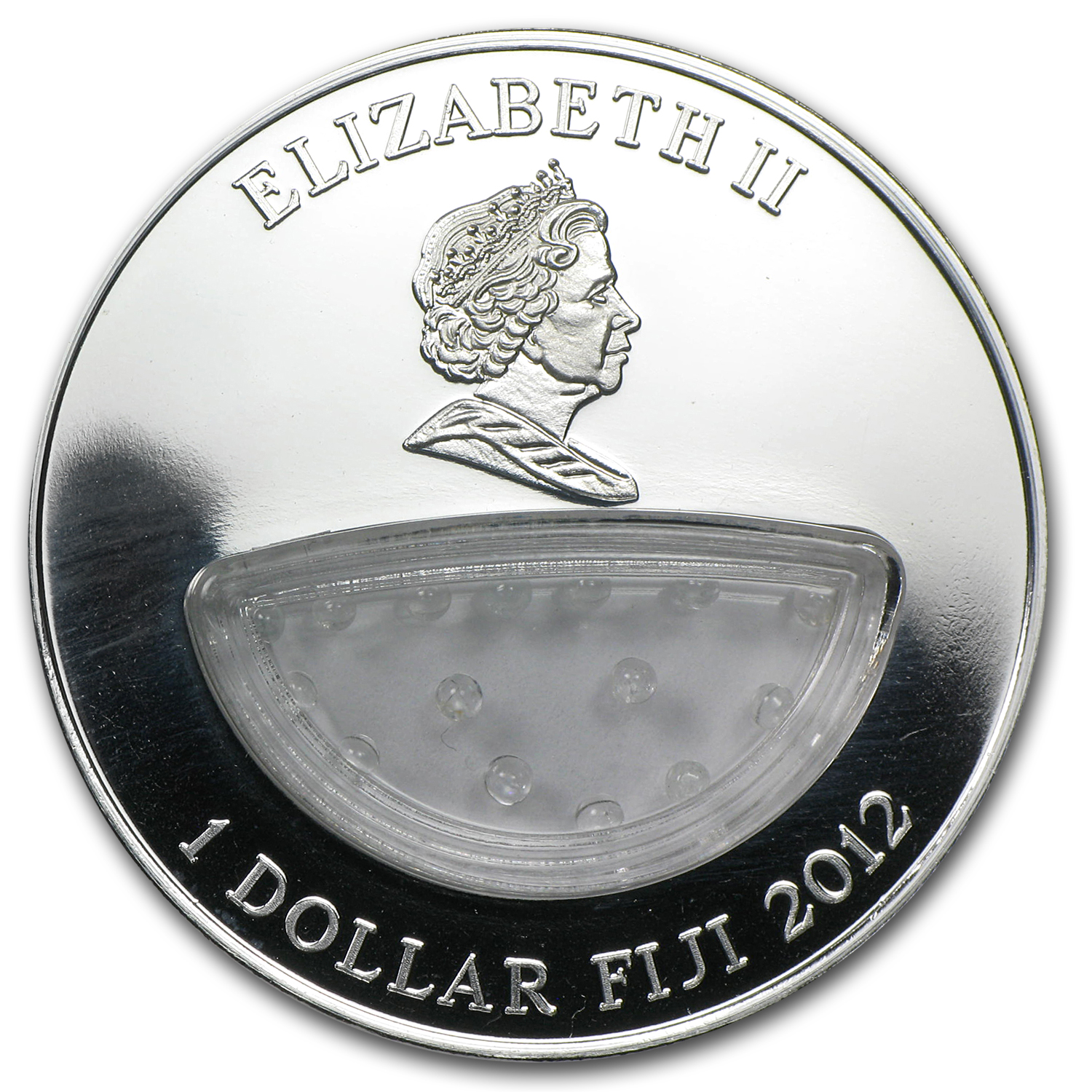 2012 Fiji Silver $1 Treasures of Mother Nature Topaz White Russia