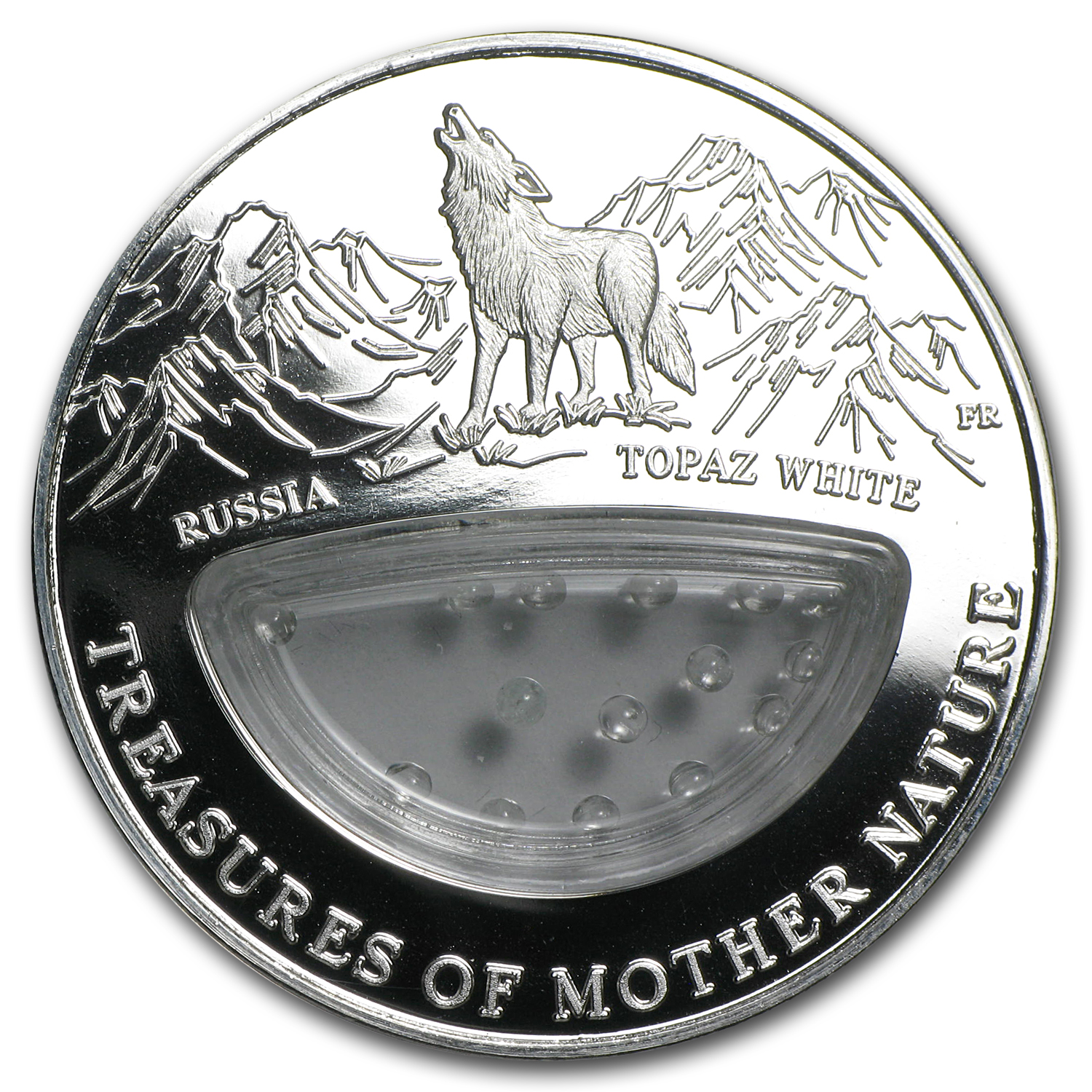 Fiji 2012 Silver $1 Treasures of Mother Nature-Topaz White-Russia