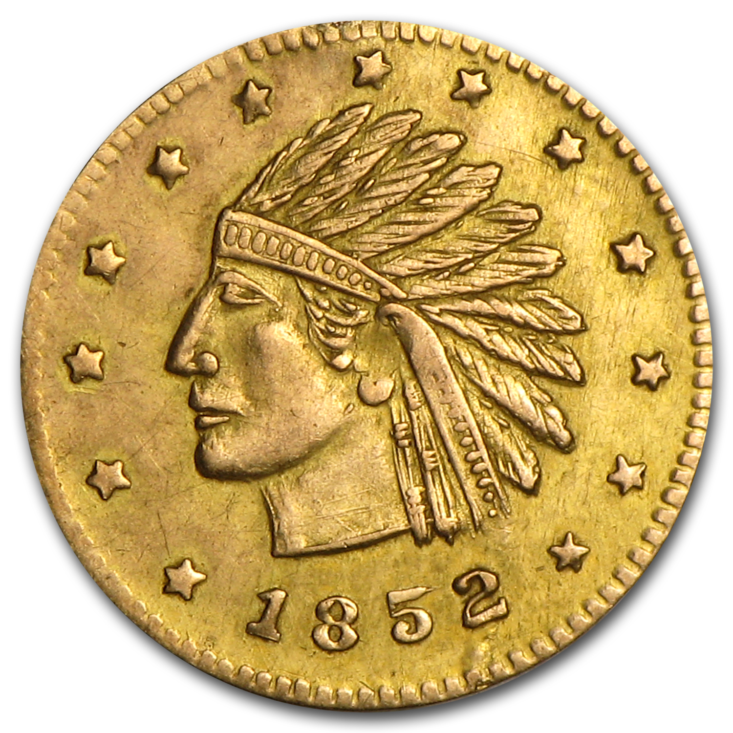 1852 Indian Round California Gold Token AU
