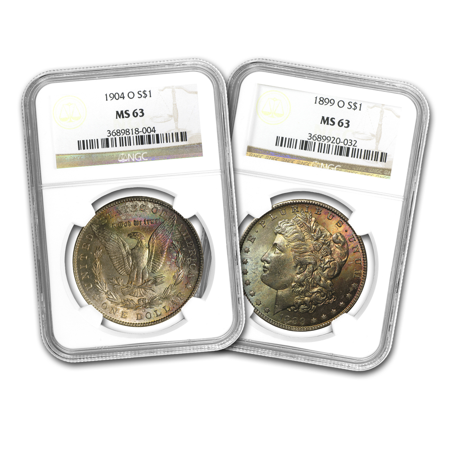 1878-1904 Morgan Dollars MS-63 NGC (Beautifully Toned)