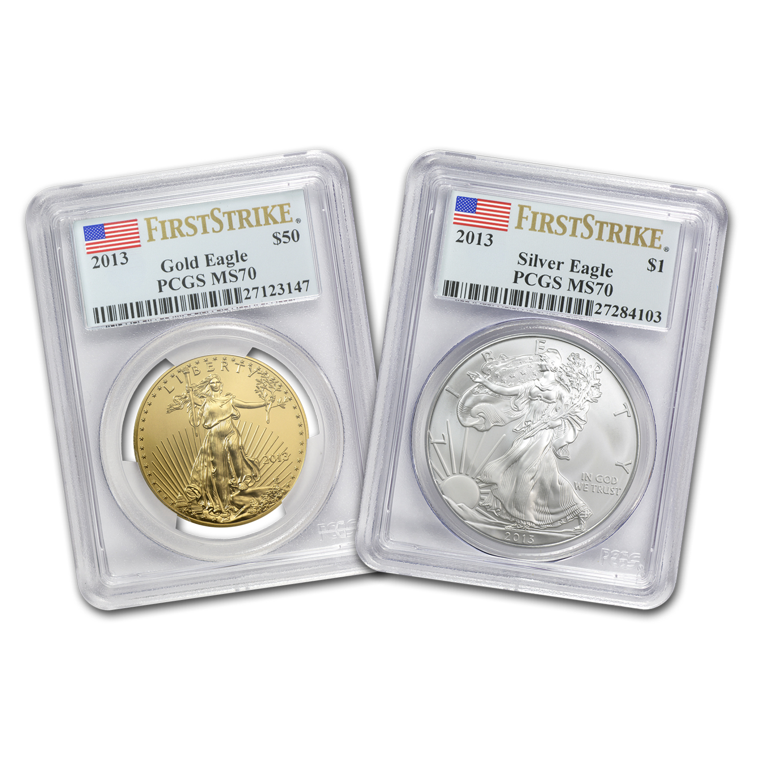 2013 2-Coin 1 oz Gold & 1 oz Silver Eagle Set MS-70 PCGS (FS)