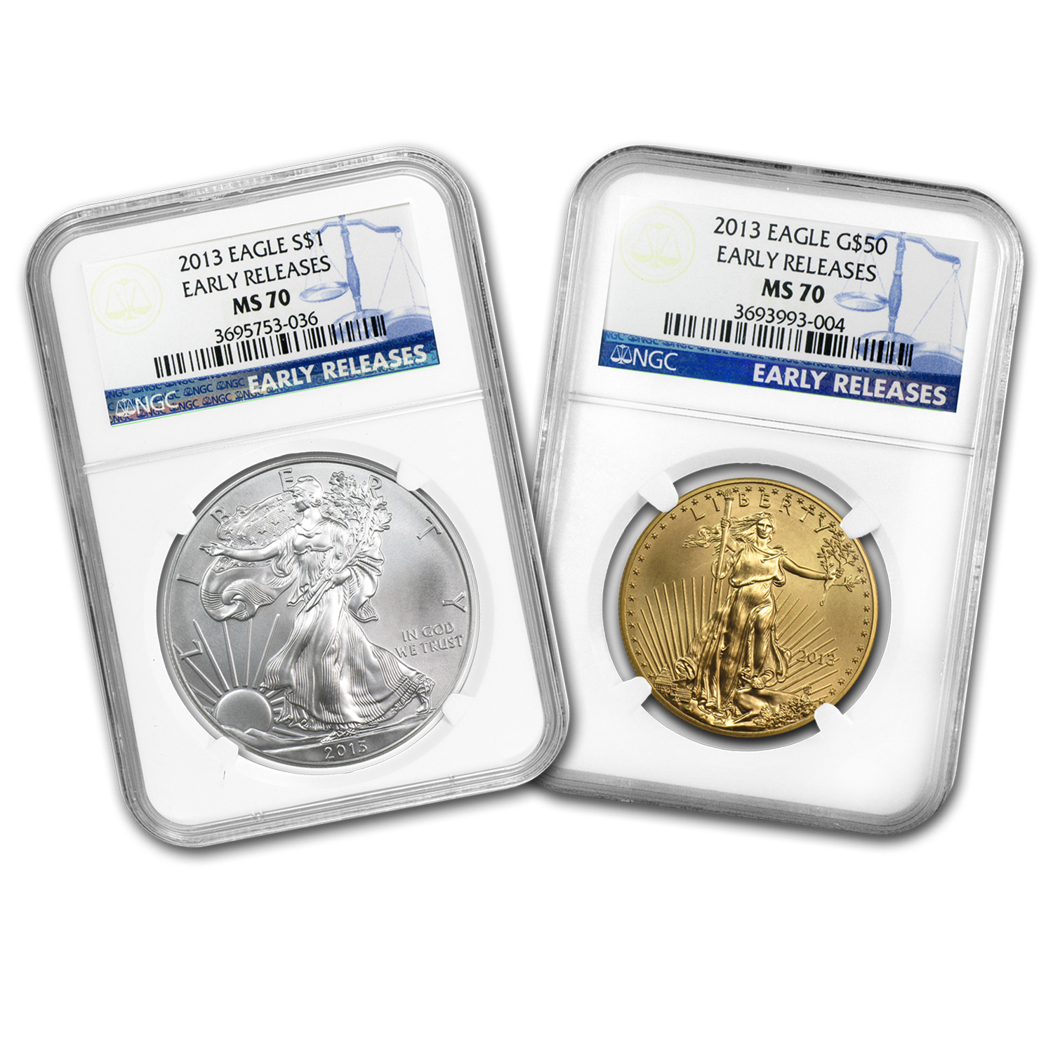 2013 2-Coin 1 oz Gold & 1 oz Silver Eagle Set MS-70 NGC (ER)