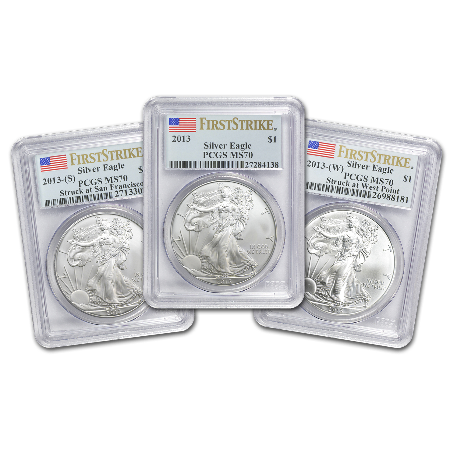 2013 3-Coin Silver American Eagle Set MS-70 PCGS (First Strike)
