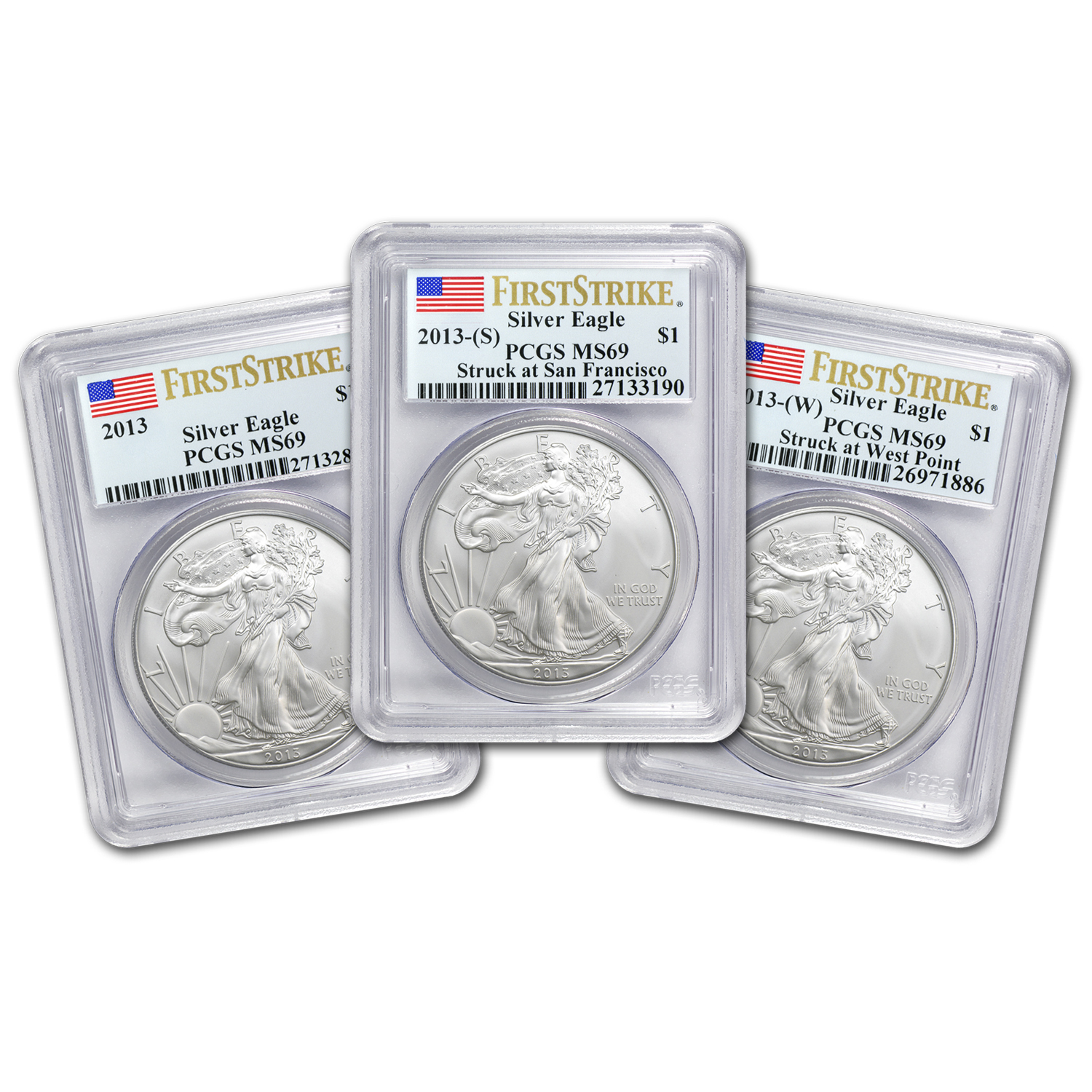 2013 3-Coin Silver American Eagle Set MS-69 PCGS (First Strike)