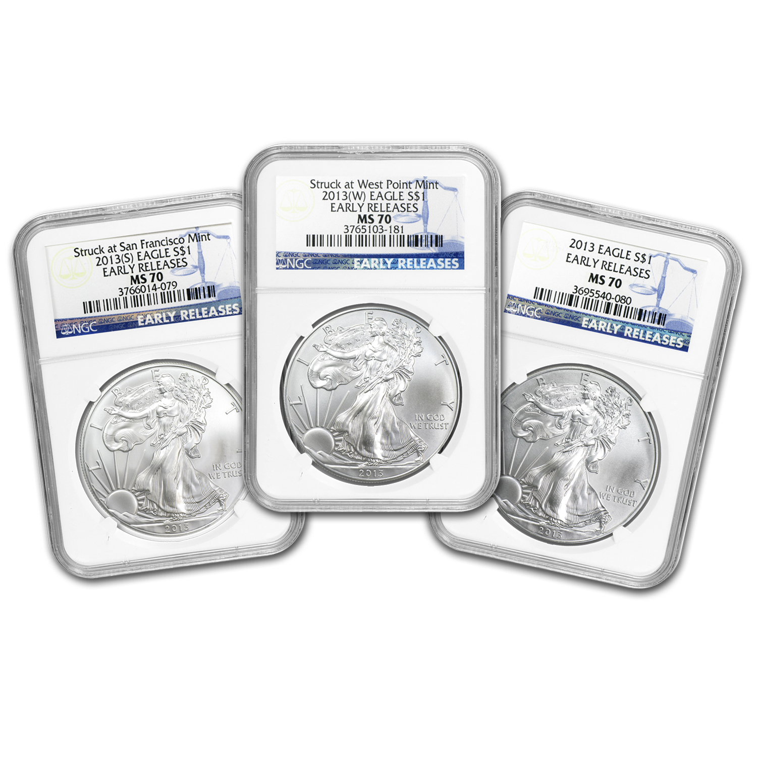 2013 3-Coin Silver American Eagle Set MS-70 NGC (Early Releases)