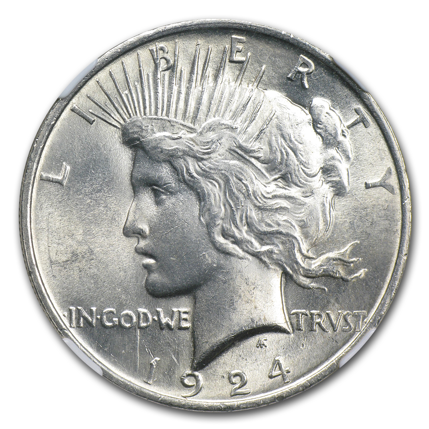 1924 Peace Dollar MS-62 NGC VAM-1A Bar D Top-50