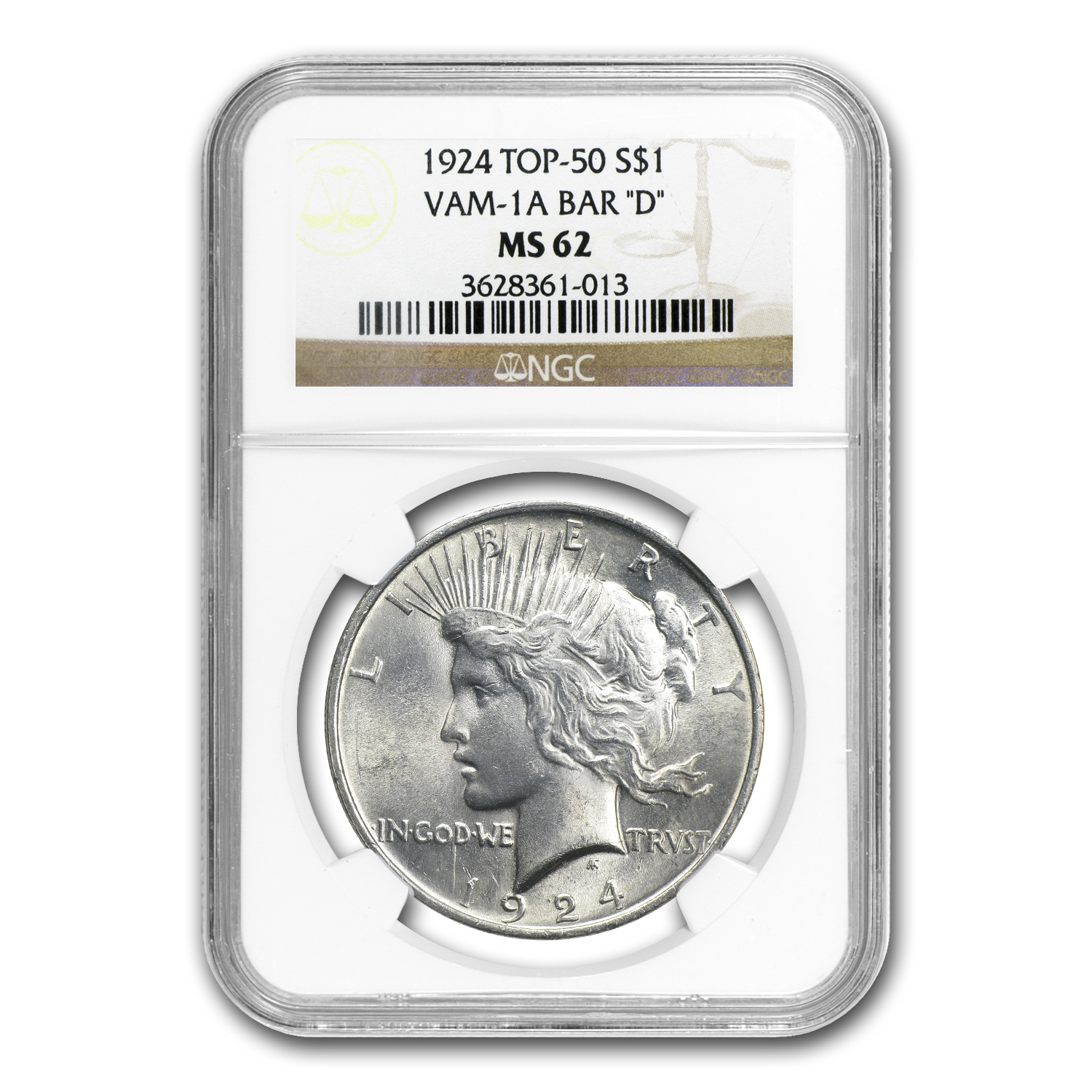 1924 Peace Dollar MS-62 NGC (VAM-1A, Bar D, Top-50)
