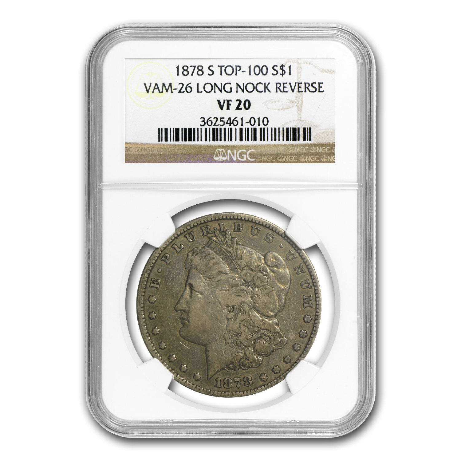 1878-S Morgan Dollar VF-20 NGC VAM-26 Long Nock Reverse Top-100