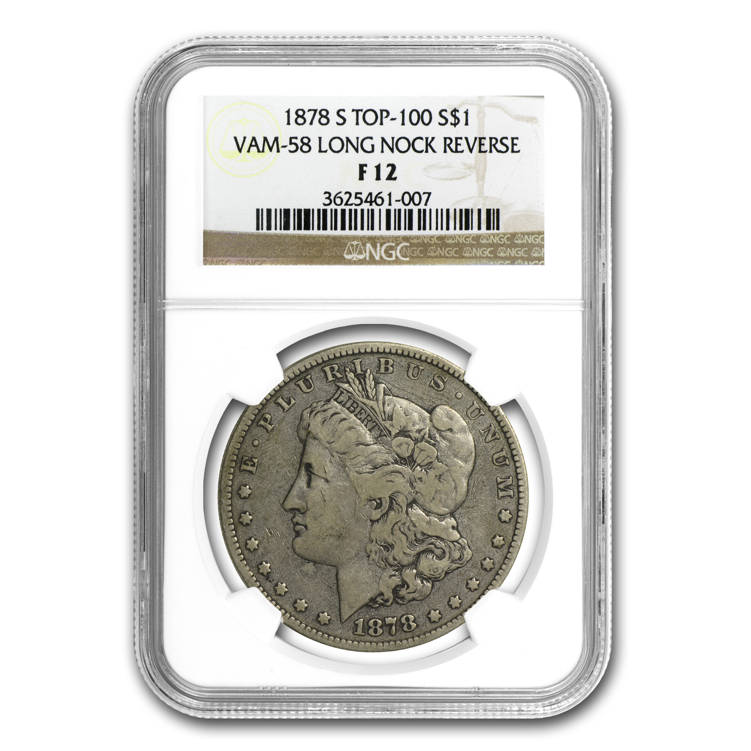 1878-S Morgan Dollar F-12 NGC (VAM-58, Long Nock Rev, Top-100)