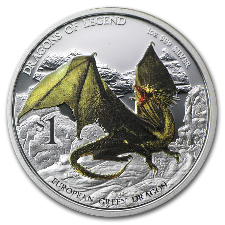 2013 1 Oz Silver Dragons Of Legend Proof European Green