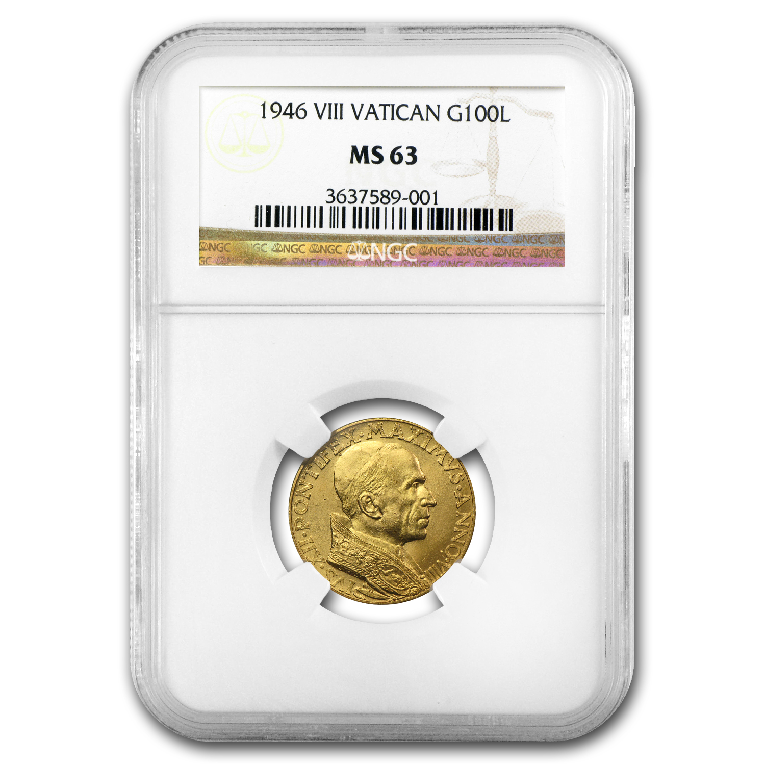 1946 Vatican City Gold 100 Lire Pope Pius XII MS-63 NGC