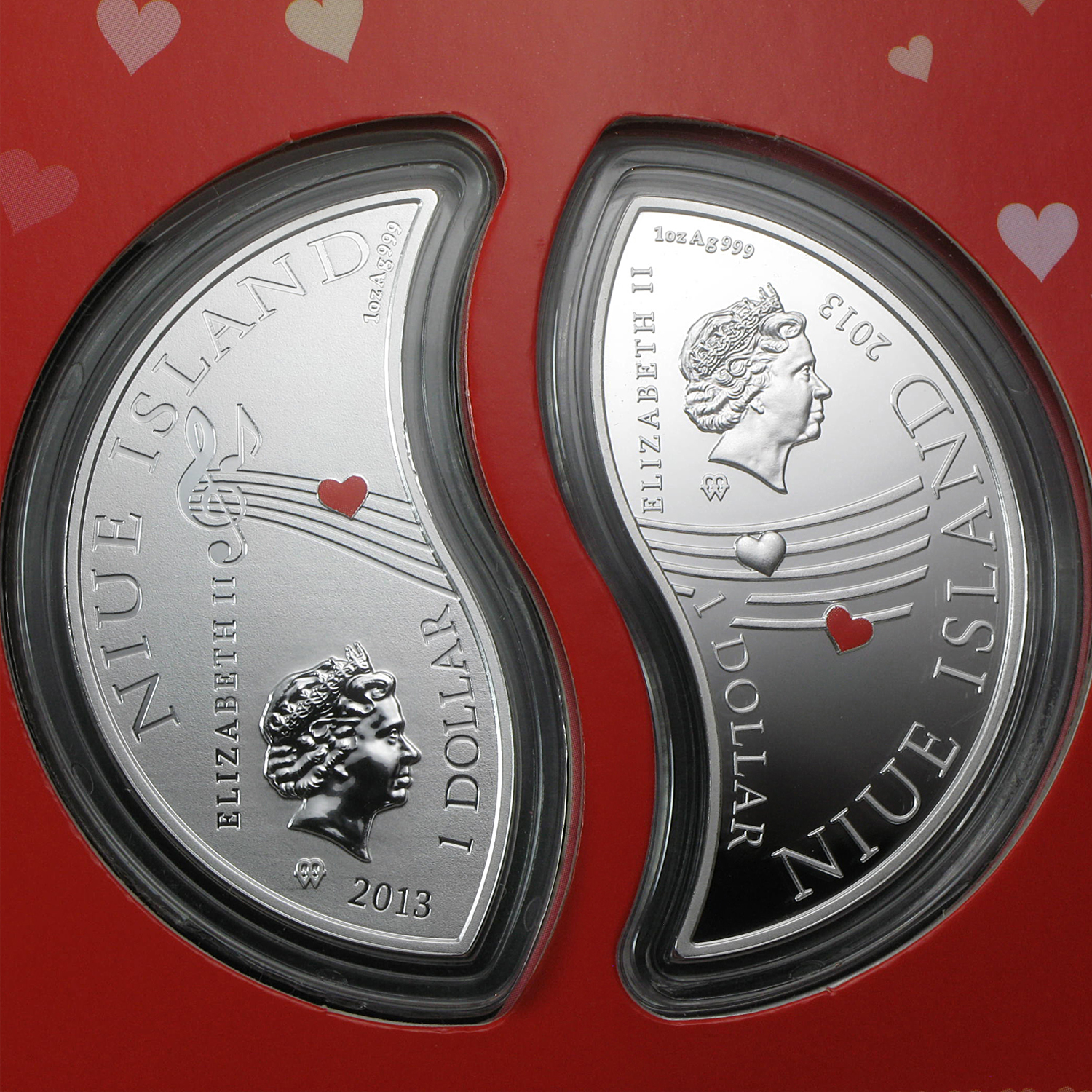 Niue $1 - 2013 2 oz Silver Proof - In Love - Set of 2 Coins