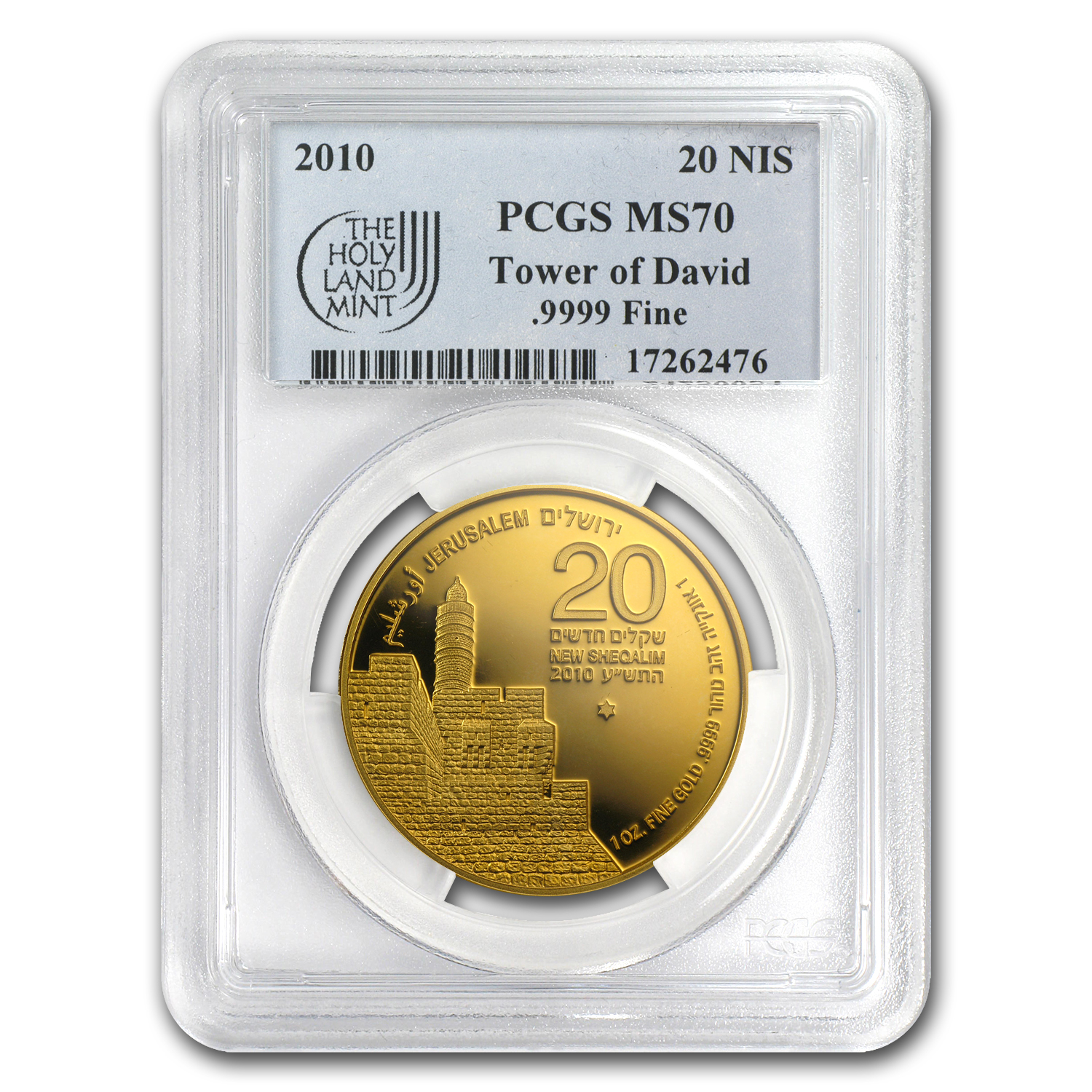 2010 Israel 1 oz Gold Tower of David MS-70 PCGS