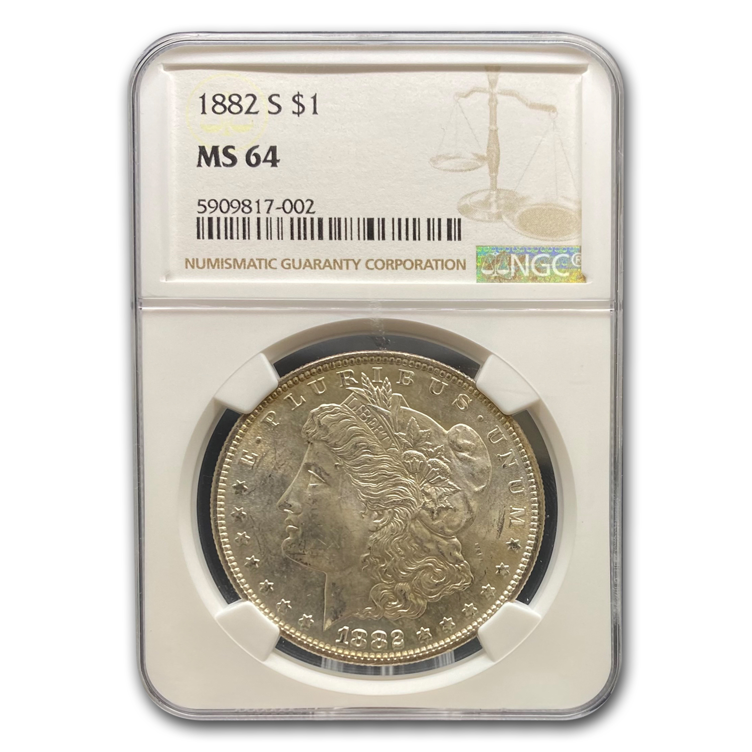 1882-S Morgan Dollar MS-64 NGC